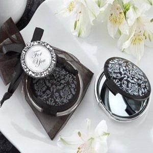 NEW ARRIVAL+Wedding Favors Reflections Elegant Black-and-White Pocket Mirror+100pcs /lot+FREE SHIPPING(China (Mainland))