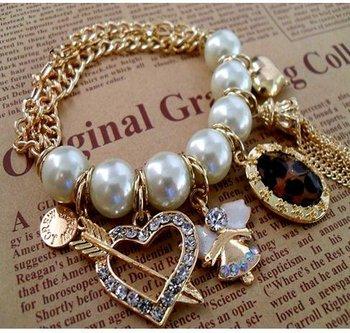 B001   Cheap jewelry braclets Bride Jewelry Big White Pearl Chain Bracelet Heart Peandant Bangles Free Shipping  M/G