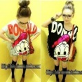2012 spring and summer new arrival ! fashion all-match paillette donald duck tassel long t-shirt 2