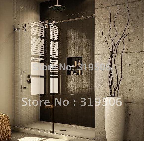 Free shipping modern 304 stainless barn door hardware for Barn doors over sliding glass doors