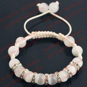 10pcs/lot 10mm Clear Cat Eye Glass Spacer Bead Shamballa Bracelet Free Shipping! smb1041