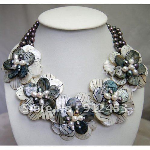 Beaded Jewelry,Holiday Party Gifts,MOP Freshwater Pearl Wired Flower Necklace Fashion Jewelry Wholesale New Free Shipping(China (Mainland))
