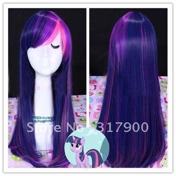 55cm long purple/pink  mixed Little Pony Twilight Sparkle free wig cap