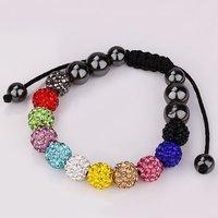 2014 New Hot Big Discount Handmade 10mm Shamballa Bracelets CZ Disco Crystal Disco Ball Beads Bracelet Woman Bracelet Jewelry