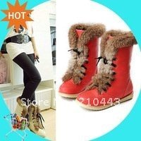 2013 plus size brand women's fashion flats lace up snow boots rabbit hair woman shoes for winter warm boots drop shipping(China (Mainland))
