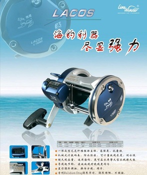 Free shipping ,Fishing reel ,Trolling reel ,LACOS  L-30DX ,With waterproof mechanical water depth counter ,Pearl blue