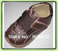 baby leather shoes sport shoes sneakers brown woven tape velcro strap shoes new arrival