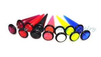 7 Colors Fake Ear Expander Cheater Earring UV Acrylic 8mm ball 14G bar Flesh Plug  Ear Stretcher Piercing Body Jewellery NEW