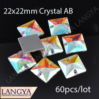 LY13463 Sew on Square shape crystal button beads 2 holes crystal AB 22x22mm Silver base 60pcs/lot CPAM free  crystal beads