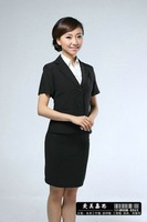2012 black  lady's suit wedding Stylish polyester fibre chemical fiber Slim Fit stripe 2 Buttons women's Suit