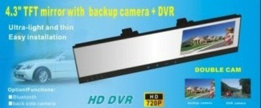 HD 720P car DVR +Car Rearview Mirror with Built-in 4.3 Inch Monitor+backup camera system(China (Mainland))