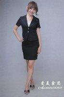 black lady's suit wedding Stylish polyester fibre chemical fiber Slim Fit stripe two Buttons women's Suit