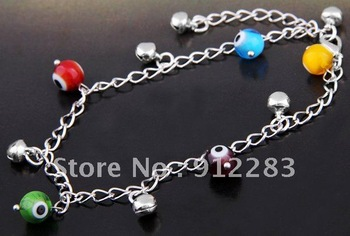 Free Shipping Wholesale 12PCS Fashion Eye Lampwork Glass Bell Metal Anklet Bracelet, Ankle Bracelet