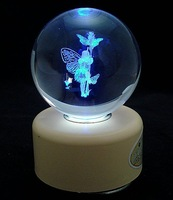2013 Popular Hand crank crystal constellation music box, ,Free shipping,Sankyo mechanism, LED rotate resin light base