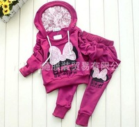 Baby Fashion girls Butterfly suit Sets Sport Suits boys kid cartoon clothing chilldren wear cotton 4 set purple gray pink