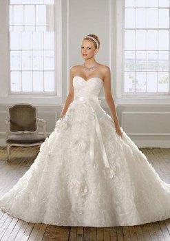 new Style Ball Gown sweetheart neckline Sleeveless Handmade flowers Wedding Dresses for Bride #435