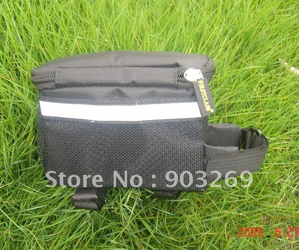 Discount Ship+2PCs TT02 Bicycle Bag Black Grey Waterproof Sport Bike Bag for Purse Portable Tools Front Pipe T- Bag(China (Mainland))
