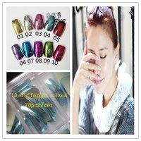 Wholesale 5set/lot Sky Blue metallic full cover nail tips in case False tips 70pcs/set, Free shipping #HJM-04