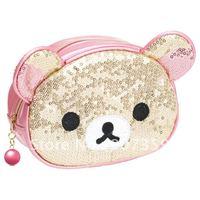 Hot sell Rilakkuma little bear cosmetic bag/case  Animal makeup bag purse wallet 2 colors  Free Shipping 10pcs/lot