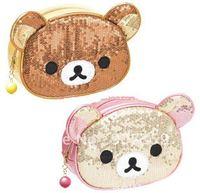 Hot selling Rilakkuma little bear cosmetic bag/case  Animal makeup bag purse wallet 2 colors  Free Shipping 5pcs/lot