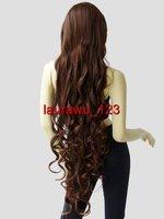 """40"""" Long Spiral Curly Bangs Cosplay Wigs Cinnamon Brown"""