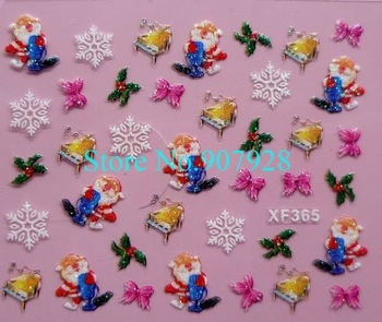 48pcs(=24designs) x 3D NEW Christmas Holiday Nail Art Decal Stickers -Free Shipping