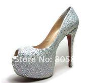 Туфли на высоком каблуке newest women's Rhinestone wedding shoes, 16cm/14cm/12cm/10cm heels ladies' crystal shoes, platform shoes
