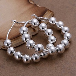 Free shipping 925 sterling silver jewelry earring fine 8mm rosary bead ball hoop jewelry earring wholesale and retail SMTE188(China (Mainland))