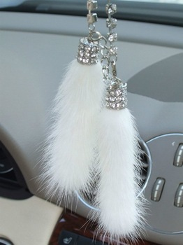 White/Black Color Mink Crystal Strap keyChain Car Ornament  Rearview Mirror Hanging Decoration  Mink Auto Hanging Ornament