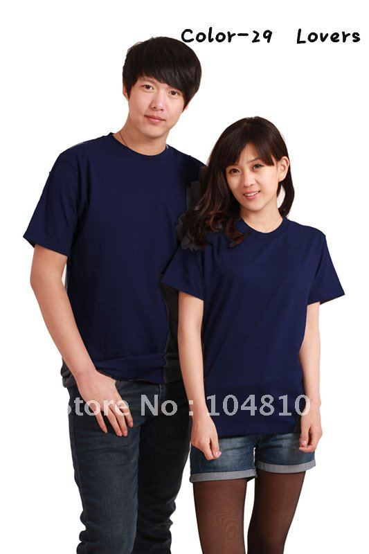 100% cotton t-shirt, 8 sizes for men and women 30 colors free shipping. COLOR-29(China (Mainland))