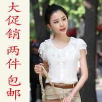 Summer women's short-sleeve chiffon shirt ruffle puff sleeve o-neck black-and-white solid color shirt