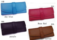 Free shipping  womens genuine leather wallet, lady cowskin bag purse, western real leather evening party wallet
