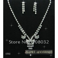 MIN.ORDER $15,simple rhinestone bride necklace with bowknot and strips as drops