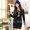 Free Shipping!New Arrival!Hot!Spring one-piece dress long-sleeve leopard print fur basic skirt