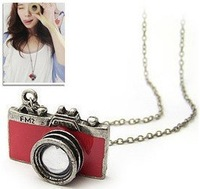 Europe and the United States Retro Accessories Drip red camera Necklace Korea Korean Female Sweater chain Full