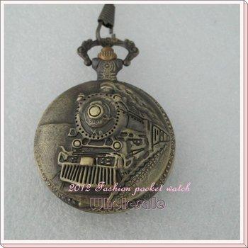 Free Shipping 5 pcs/lot Antique Embossment Railroad Steam Train Vintage Men's Quartz  Pocket Watches L194