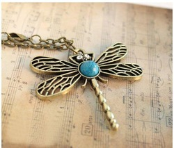 (Min order$10)Retro fashion personality Dragonfly Necklace, sweater chain!Free Shipping!#309(China (Mainland))