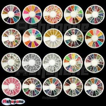 10x New Nail Art Rhinestones Glitters Acrylic Tips Decoration Manicure Wheel A1