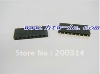 40pcs, Golden Single Row 1x8 pins 2.54mm Female Header