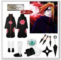 Naruto akatsuki cosplay costume cloak Cloth Ring Headband Shoes set Deidara all sizes  8pcs/set