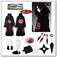 Naruto akatsuki cosplay costume cloak Cloth Ring Headband Shoes set - Orochimaru all sizes