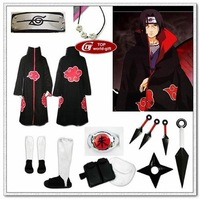 Naruto akatsuki cosplay costume cloak Cloth Ring Headband Shoes set Uchiha Itachi  all sizes