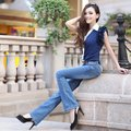 2 cattle 2012 mid waist elastic bell bottom trousers fashion jeans female