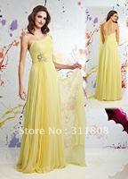 2012 New Arrival One Shoulder Orange Chiffon Bridesmaid Dresses-DB70056