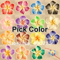 20 PCS Pick Color Polymer Clay White Border Plumeria Flower Beads 20mm