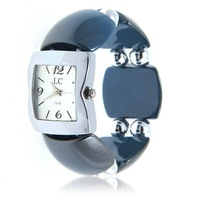 Fashion LC Numerals & Strips Hour Marks Quartz Wrist Watch for Female 1658 (Blue)