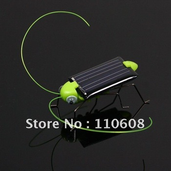 Free Shipping Funny Kid Electronic Toy Robot Insect Bug Locust Grasshopper Solar Power Black And Green 10pcs #G707