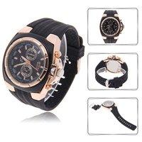 Vogue V6 Strips Hour Marks Round Dial Silver Case Quartz Hours Analog Silicone Wrist Watch V0048 (Black)