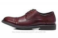 Top quality men's retro dress Genuine leather shoes for office & career footwear size:39-44 black reddish-brown