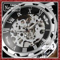 DHL EMS Free Shipping 2014 New Silver SKELETON Analog Black Leather Mechanical Men Wrist Watch